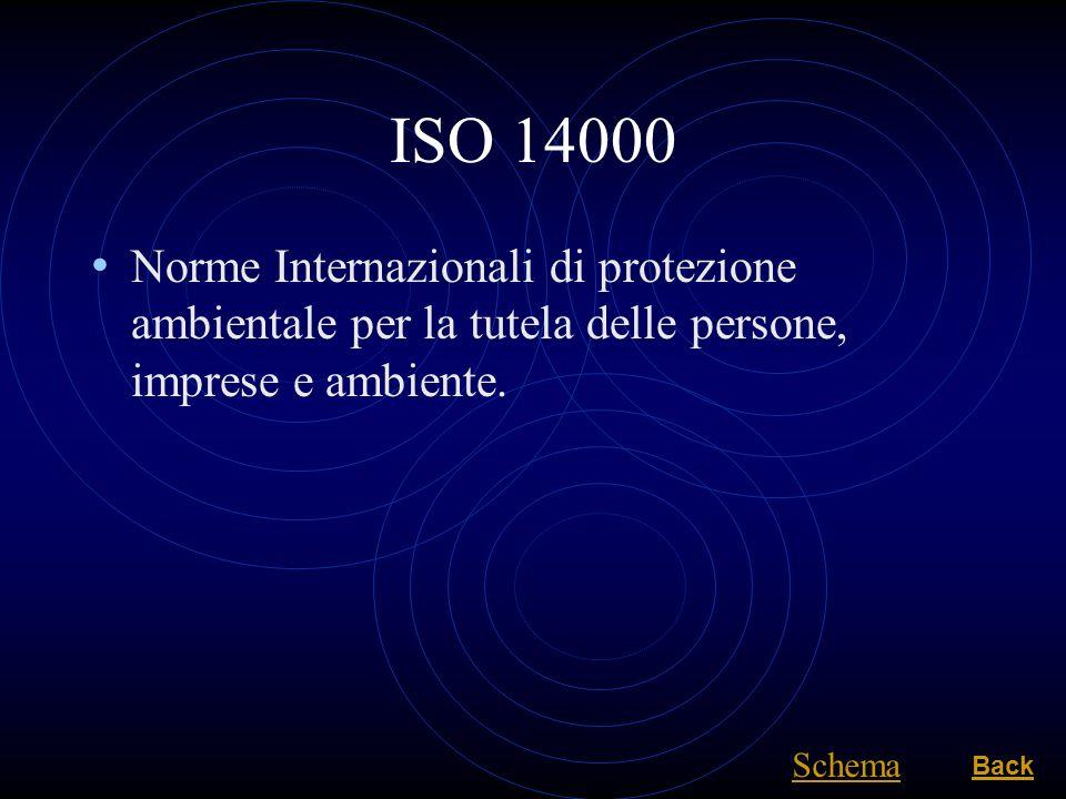 ISO 14000 Norme Internazionali di protezione ambientale per la tutela delle persone, imprese e ambiente. Back Schema