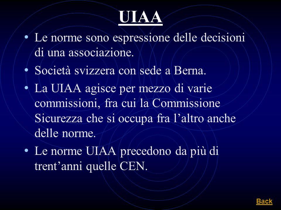 UIAA Le norme sono espressione delle decisioni di una associazione. Società svizzera con sede a Berna. La UIAA agisce per mezzo di varie commissioni,