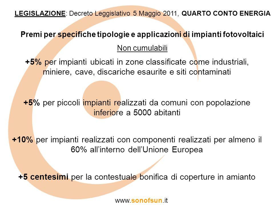 LEGISLAZIONE: Decreto Leggislativo 5 Maggio 2011, QUARTO CONTO ENERGIA www.sonofsun.it Premi per specifiche tipologie e applicazioni di impianti fotov