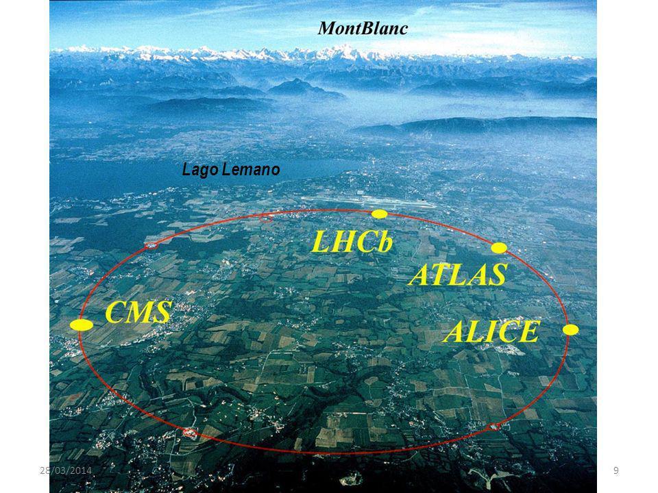 Lunghezza 26,7 Km Velocita dei protoni : 99,9997828 % della velocita della luce 9300 magneti superconduttori, raffreddati a -271,3 gradi C = 1.9 K Pressione allinterno del tubo dellacceleratore 10 -13 atm (1 decimo che sulla luna) 40 milioni di collisioni al secondo Ogni esperimento di LHC riempira di dati lequivalente di 20 milioni di DVD ogni anno Costo : 6 miliardi di euro (pagato in circa 10 anni dagli stati membri del CERN su budget normale, senza richiesta di sovvenzioni speciali) Consumo energetico a pieno regime: 180 MWatt (meno di un decimo di tutto il cantone di Ginevra), fornito dalla societa elettrica francese.