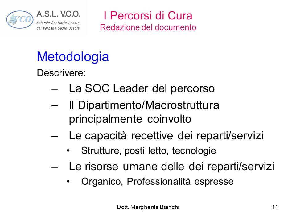 Dott. Margherita Bianchi11 I Percorsi di Cura Redazione del documento Metodologia Descrivere: –La SOC Leader del percorso –Il Dipartimento/Macrostrutt