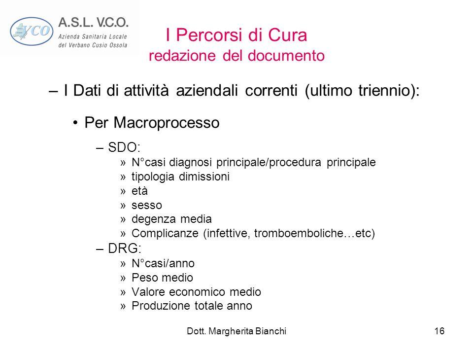 Dott. Margherita Bianchi16 I Percorsi di Cura redazione del documento –I Dati di attività aziendali correnti (ultimo triennio): Per Macroprocesso –SDO