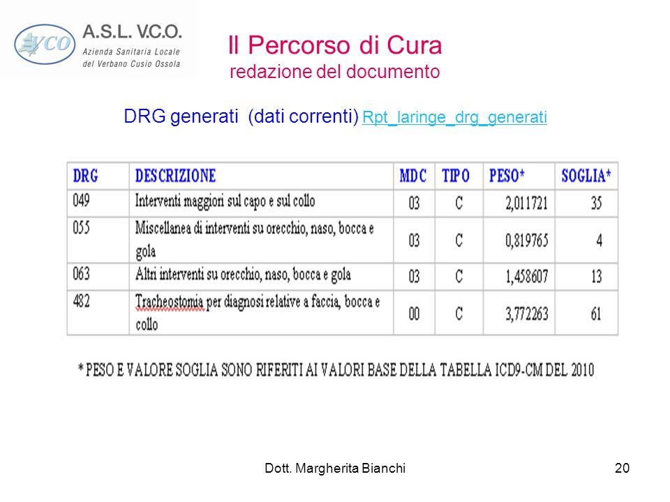Dott. Margherita Bianchi20 Il Percorso di Cura redazione del documento DRG generati (dati correnti) Rpt_laringe_drg_generati Rpt_laringe_drg_generati