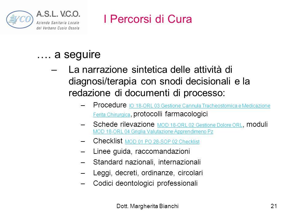 Dott. Margherita Bianchi21 I Percorsi di Cura …. a seguire –La narrazione sintetica delle attività di diagnosi/terapia con snodi decisionali e la reda