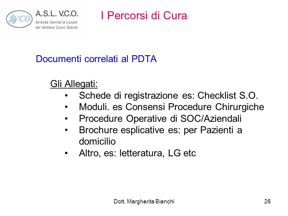 Dott. Margherita Bianchi26 I Percorsi di Cura Documenti correlati al PDTA Gli Allegati: Schede di registrazione es: Checklist S.O. Moduli. es Consensi