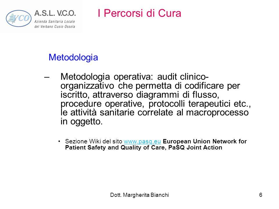 Dott. Margherita Bianchi6 I Percorsi di Cura –Metodologia operativa: audit clinico- organizzativo che permetta di codificare per iscritto, attraverso
