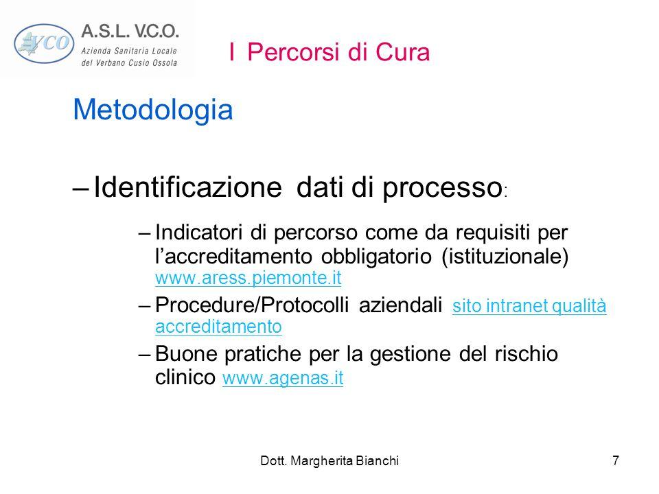 Dott. Margherita Bianchi7 I Percorsi di Cura Metodologia –Identificazione dati di processo : –Indicatori di percorso come da requisiti per laccreditam