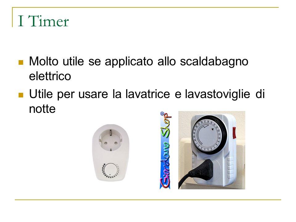I Timer Molto utile se applicato allo scaldabagno elettrico Utile per usare la lavatrice e lavastoviglie di notte