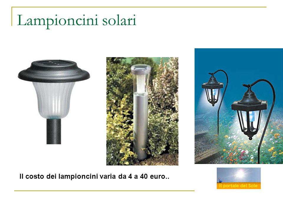 Lampioncini solari Il costo dei lampioncini varia da 4 a 40 euro..