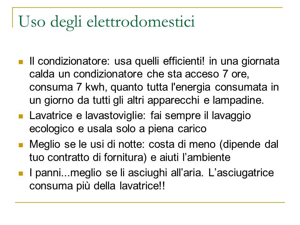 Uso degli elettrodomestici Il condizionatore: usa quelli efficienti! in una giornata calda un condizionatore che sta acceso 7 ore, consuma 7 kwh, quan