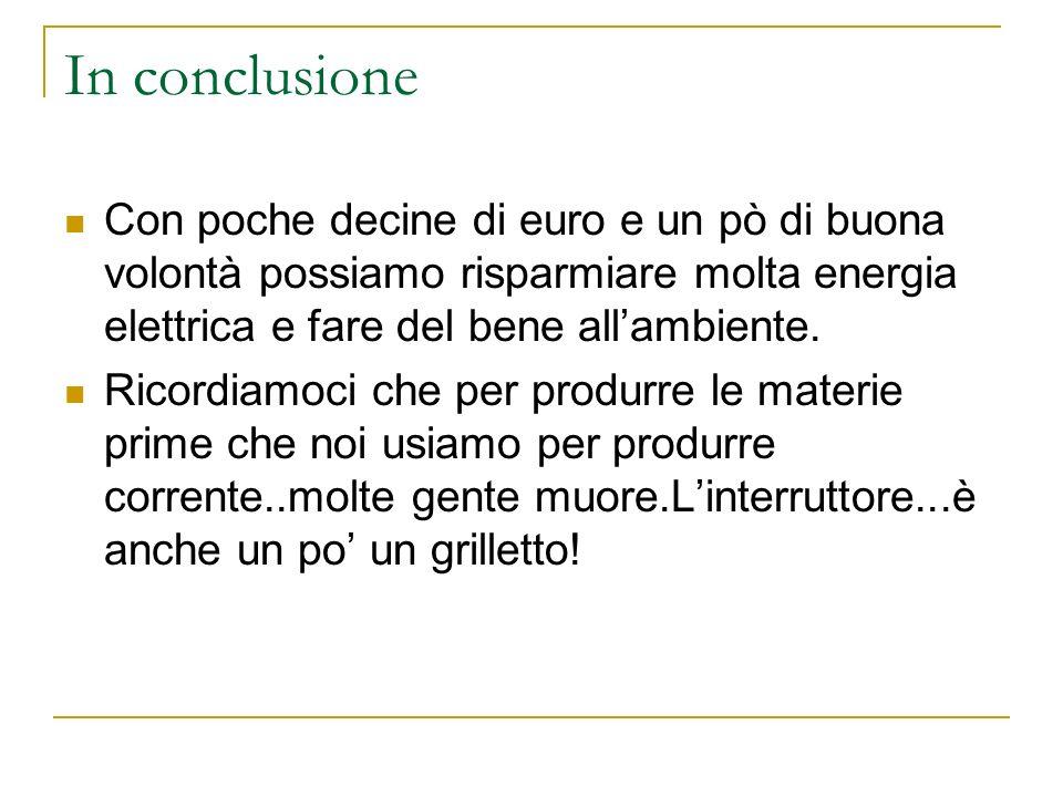 In conclusione Con poche decine di euro e un pò di buona volontà possiamo risparmiare molta energia elettrica e fare del bene allambiente. Ricordiamoc