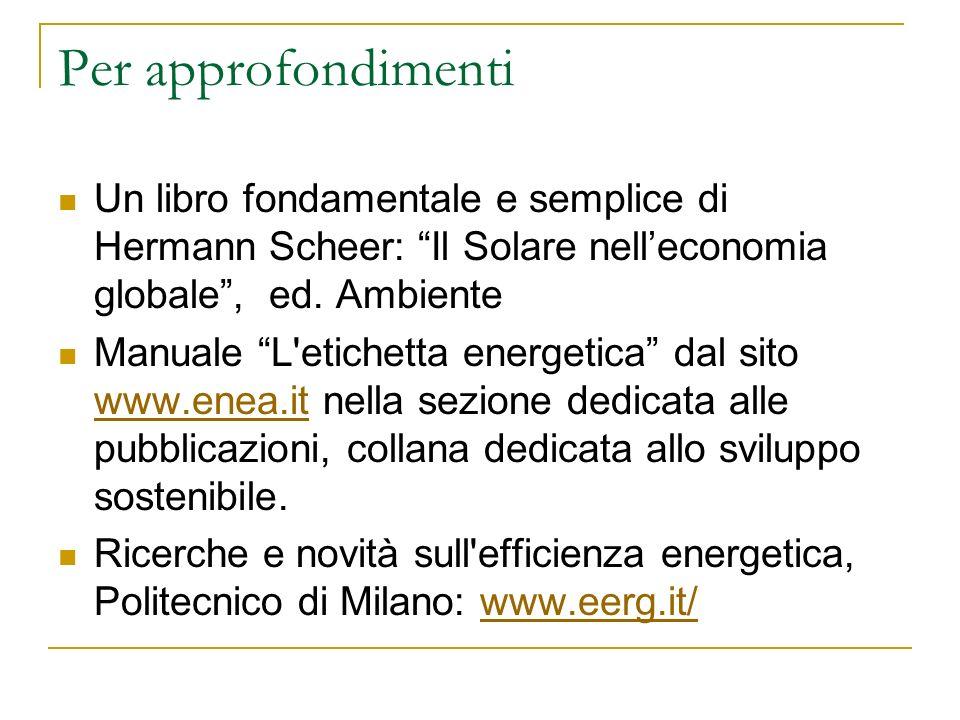 Per approfondimenti Un libro fondamentale e semplice di Hermann Scheer: Il Solare nelleconomia globale, ed. Ambiente Manuale L'etichetta energetica da