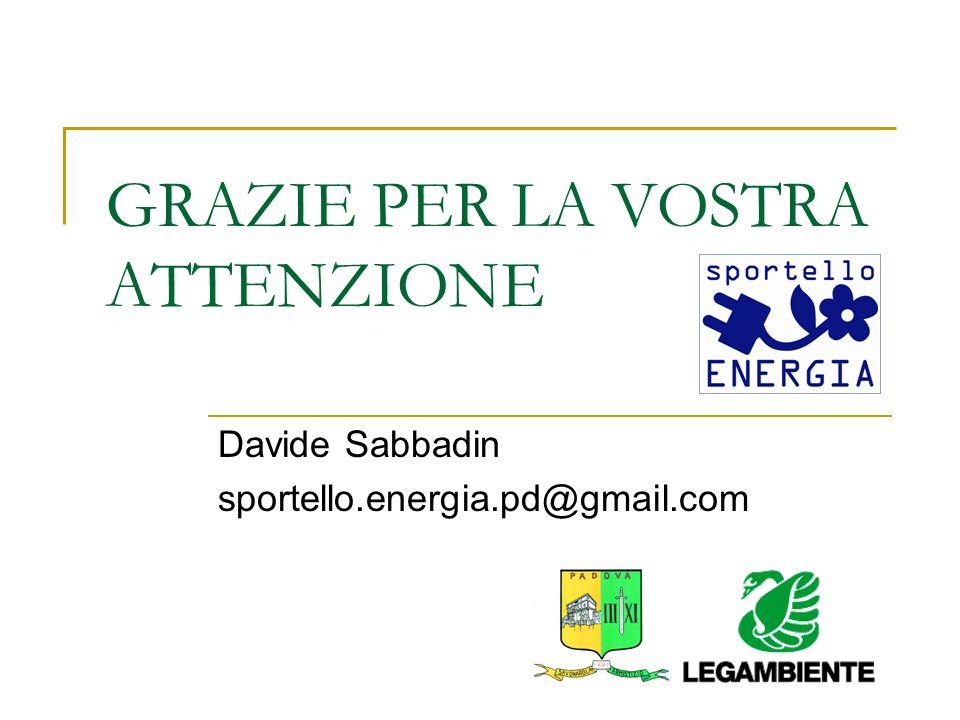 GRAZIE PER LA VOSTRA ATTENZIONE Davide Sabbadin sportello.energia.pd@gmail.com