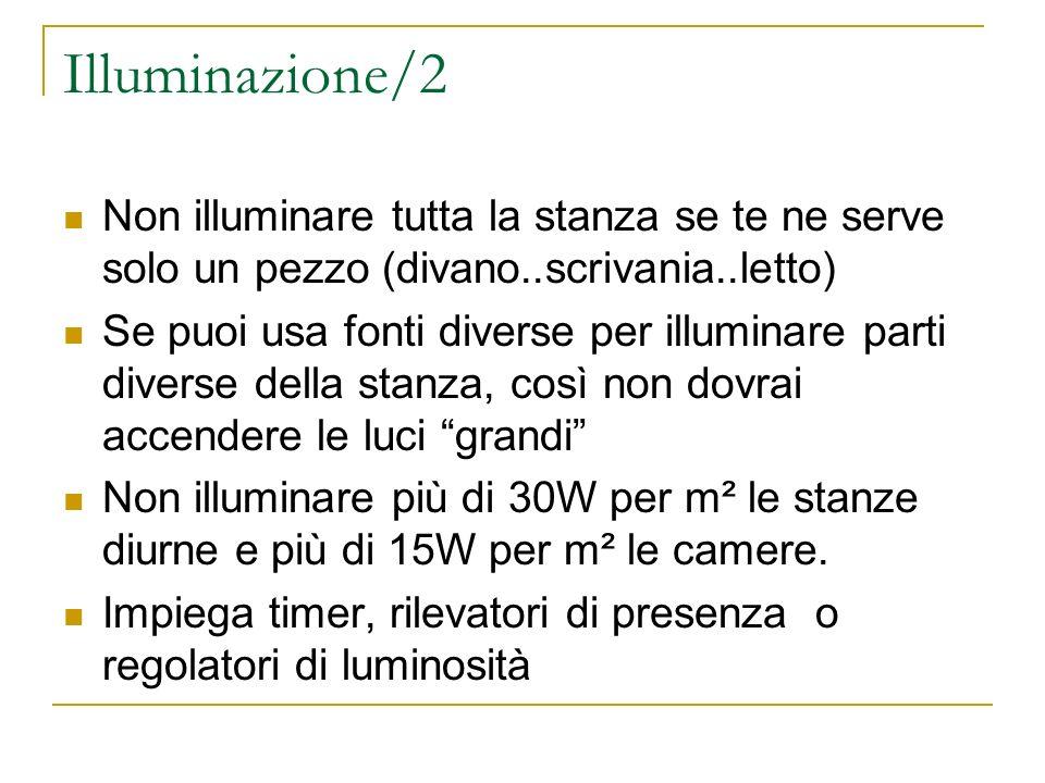 Illuminazione/2 Non illuminare tutta la stanza se te ne serve solo un pezzo (divano..scrivania..letto) Se puoi usa fonti diverse per illuminare parti