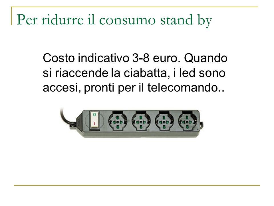Per ridurre il consumo stand by Costo indicativo 3-8 euro. Quando si riaccende la ciabatta, i led sono accesi, pronti per il telecomando..