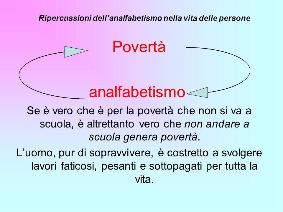 Povertà analfabetismo Se è vero che è per la povertà che non si va a scuola, è altrettanto vero che non andare a scuola genera povertà. Luomo, pur di