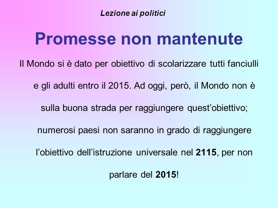 Promesse non mantenute Il Mondo si è dato per obiettivo di scolarizzare tutti fanciulli e gli adulti entro il 2015. Ad oggi, però, il Mondo non è sull