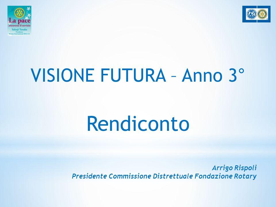VISIONE FUTURA – Anno 3° Rendiconto Arrigo Rispoli Presidente Commissione Distrettuale Fondazione Rotary