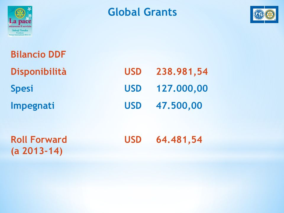 Global Grants Bilancio DDF Disponibilità USD 238.981,54 Spesi USD 127.000,00 Impegnati USD 47.500,00 Roll ForwardUSD 64.481,54 (a 2013-14)