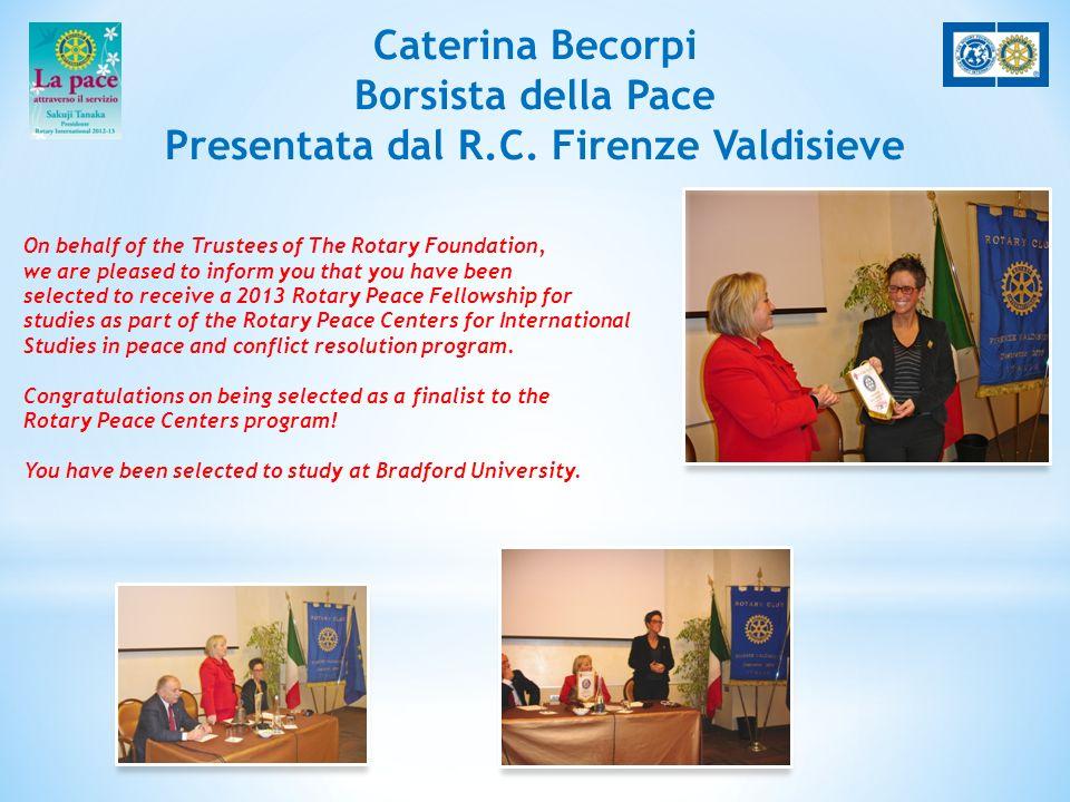 Caterina Becorpi Borsista della Pace Presentata dal R.C.