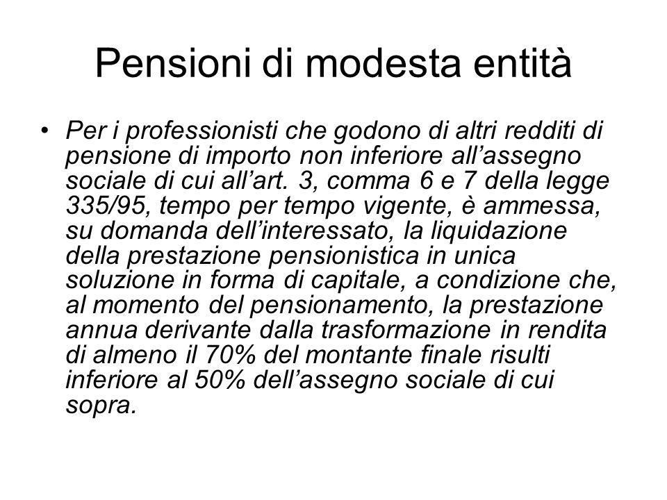 Pensioni di modesta entità Per i professionisti che godono di altri redditi di pensione di importo non inferiore allassegno sociale di cui allart. 3,