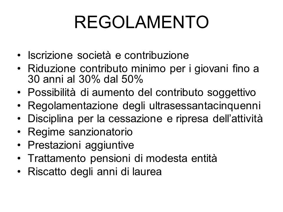 REGOLAMENTO Iscrizione società e contribuzione Riduzione contributo minimo per i giovani fino a 30 anni al 30% dal 50% Possibilità di aumento del cont