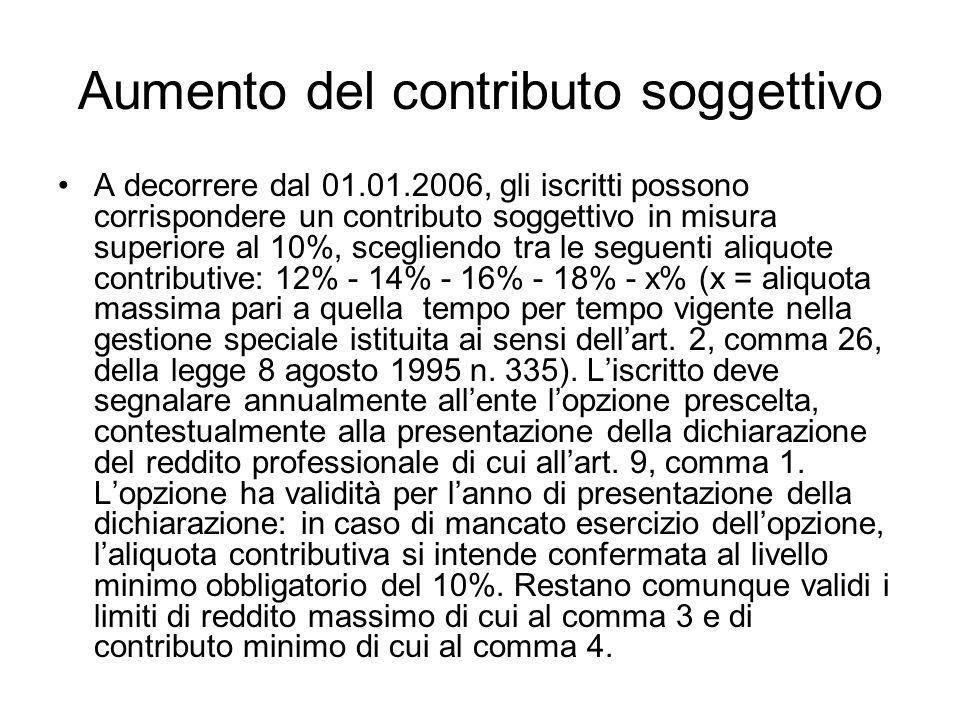 Aumento del contributo soggettivo A decorrere dal 01.01.2006, gli iscritti possono corrispondere un contributo soggettivo in misura superiore al 10%,