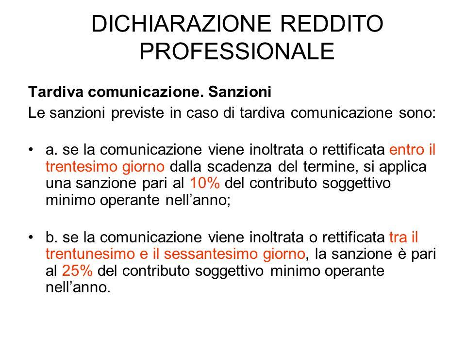 DICHIARAZIONE REDDITO PROFESSIONALE Tardiva comunicazione. Sanzioni Le sanzioni previste in caso di tardiva comunicazione sono: a. se la comunicazione
