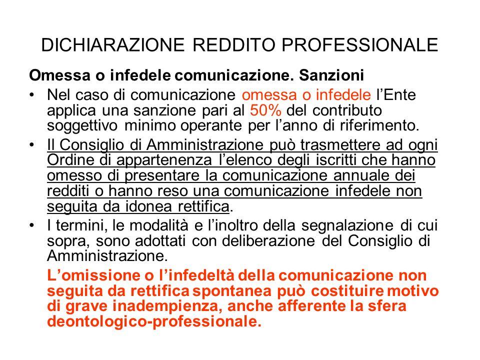DICHIARAZIONE REDDITO PROFESSIONALE Omessa o infedele comunicazione. Sanzioni Nel caso di comunicazione omessa o infedele lEnte applica una sanzione p