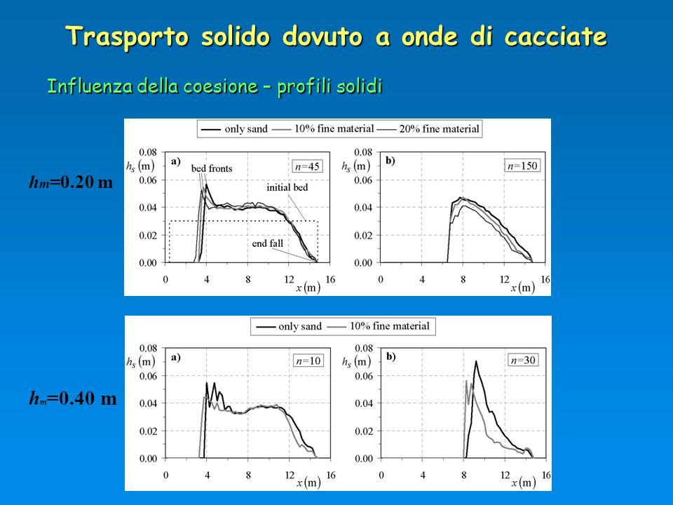 Trasporto solido dovuto a onde di cacciate Influenza della coesione – profili solidi h m =0.20 m h m =0.40 m