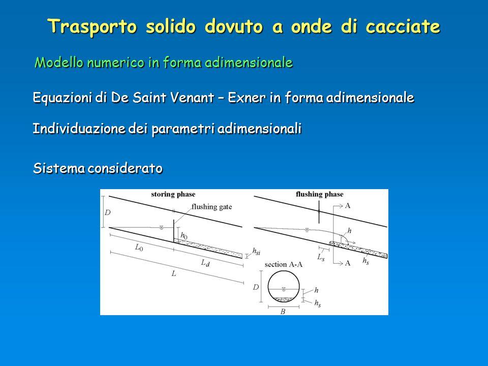 Trasporto solido dovuto a onde di cacciate Modello numerico in forma adimensionale Equazioni di De Saint Venant – Exner in forma adimensionale Sistema