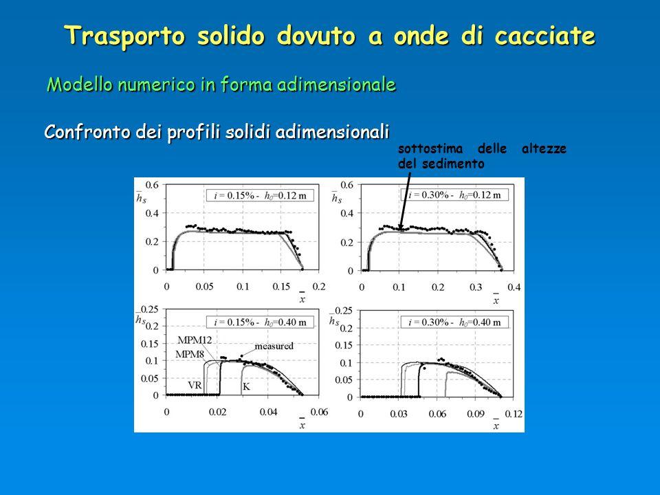 Trasporto solido dovuto a onde di cacciate Modello numerico in forma adimensionale Confronto dei profili solidi adimensionali sottostima delle altezze