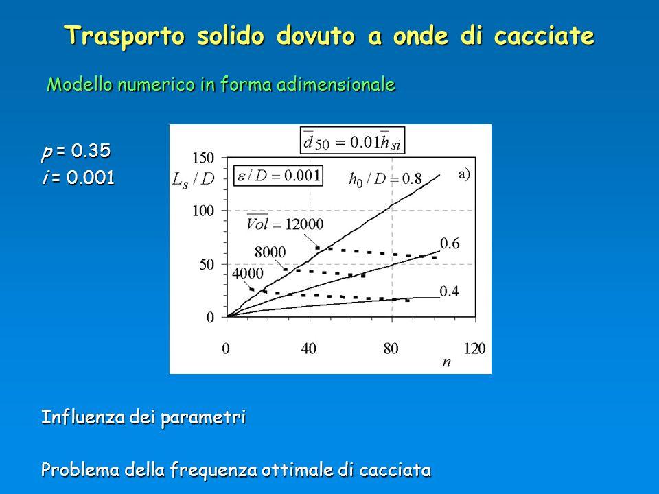 Trasporto solido dovuto a onde di cacciate Influenza dei parametri Problema della frequenza ottimale di cacciata Modello numerico in forma adimensiona