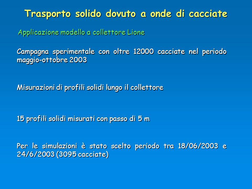 Trasporto solido dovuto a onde di cacciate Campagna sperimentale con oltre 12000 cacciate nel periodo maggio-ottobre 2003 15 profili solidi misurati c