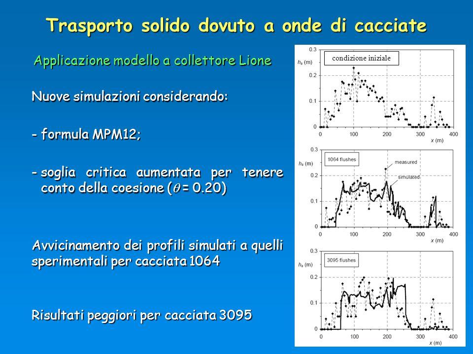 Trasporto solido dovuto a onde di cacciate Applicazione modello a collettore Lione Nuove simulazioni considerando: -formula MPM12; -soglia critica aum