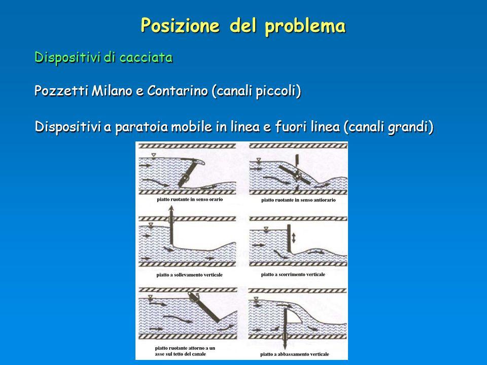 Posizione del problema Dispositivi di cacciata Pozzetti Milano e Contarino (canali piccoli) Dispositivi a paratoia mobile in linea e fuori linea (cana