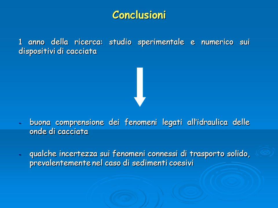 Conclusioni 1 anno della ricerca: studio sperimentale e numerico sui dispositivi di cacciata - buona comprensione dei fenomeni legati allidraulica del