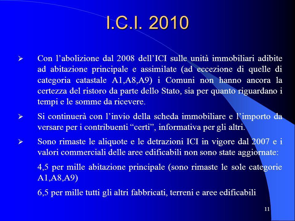11 I.C.I. 2010 Con labolizione dal 2008 dellICI sulle unità immobiliari adibite ad abitazione principale e assimilate (ad eccezione di quelle di categ