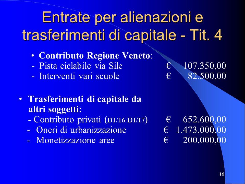 16 Entrate per alienazioni e trasferimenti di capitale - Tit. 4 Contributo Regione Veneto: -Pista ciclabile via Sile 107.350,00 -Interventi vari scuol