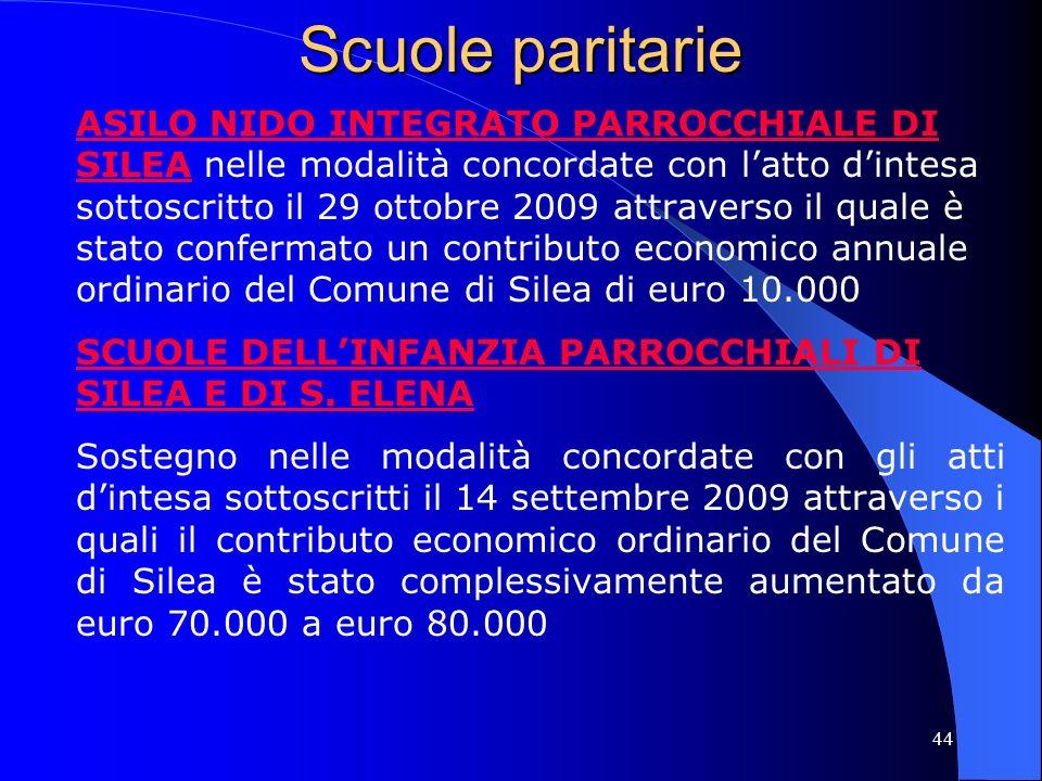 44 Scuole paritarie ASILO NIDO INTEGRATO PARROCCHIALE DI SILEA nelle modalità concordate con latto dintesa sottoscritto il 29 ottobre 2009 attraverso