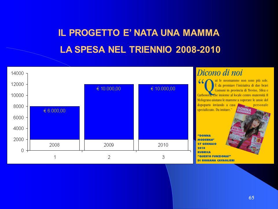 65 IL PROGETTO E NATA UNA MAMMA LA SPESA NEL TRIENNIO 2008-2010