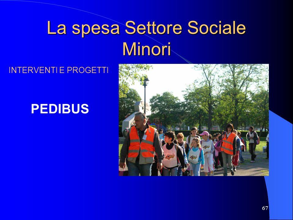 67 La spesa Settore Sociale Minori INTERVENTI E PROGETTI PEDIBUS