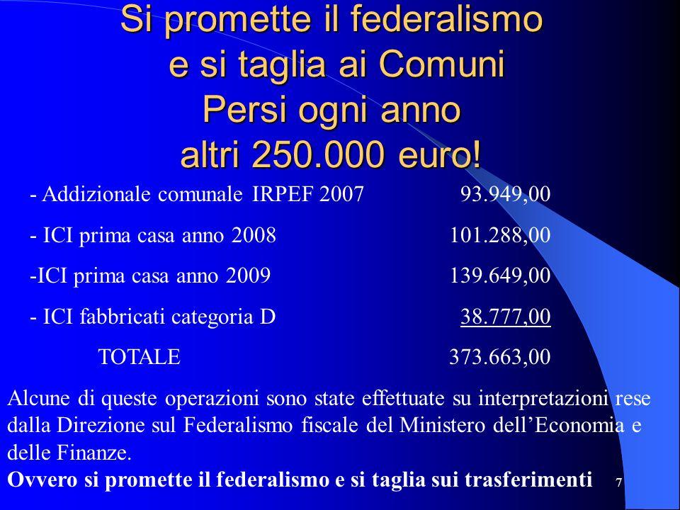 7 Si promette il federalismo e si taglia ai Comuni Persi ogni anno altri 250.000 euro! - Addizionale comunale IRPEF 2007 93.949,00 - ICI prima casa an