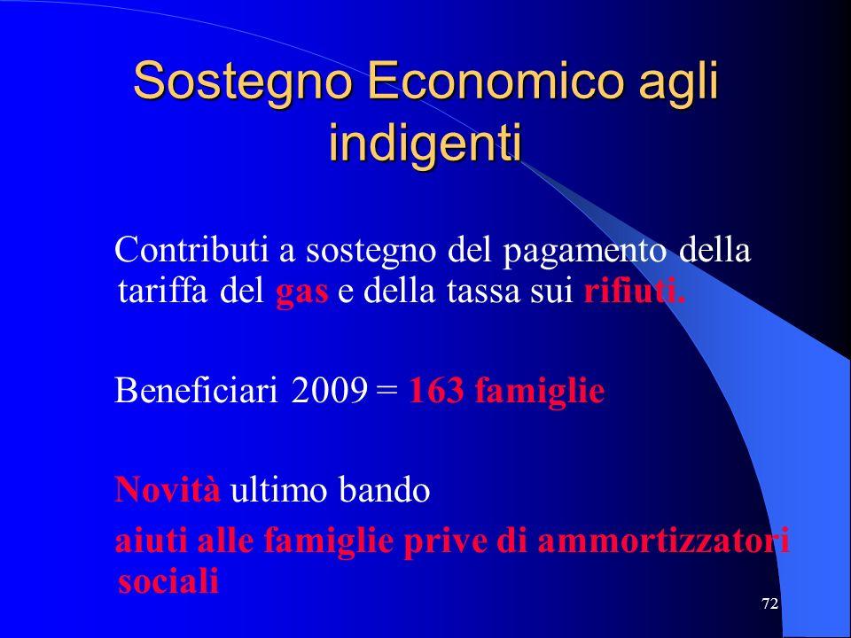 72 Sostegno Economico agli indigenti Contributi a sostegno del pagamento della tariffa del gas e della tassa sui rifiuti. Beneficiari 2009 = 163 famig