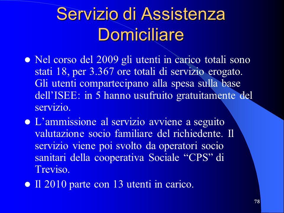 78 Servizio di Assistenza Domiciliare Nel corso del 2009 gli utenti in carico totali sono stati 18, per 3.367 ore totali di servizio erogato. Gli uten