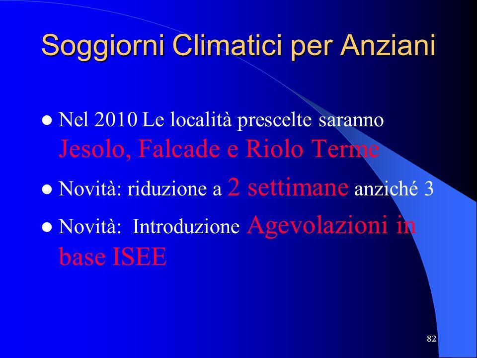 82 Soggiorni Climatici per Anziani Nel 2010 Le località prescelte saranno Jesolo, Falcade e Riolo Terme Novità: riduzione a 2 settimane anziché 3 Novi