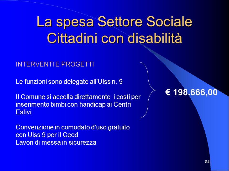 84 La spesa Settore Sociale Cittadini con disabilità INTERVENTI E PROGETTI Le funzioni sono delegate allUlss n. 9 Il Comune si accolla direttamente i