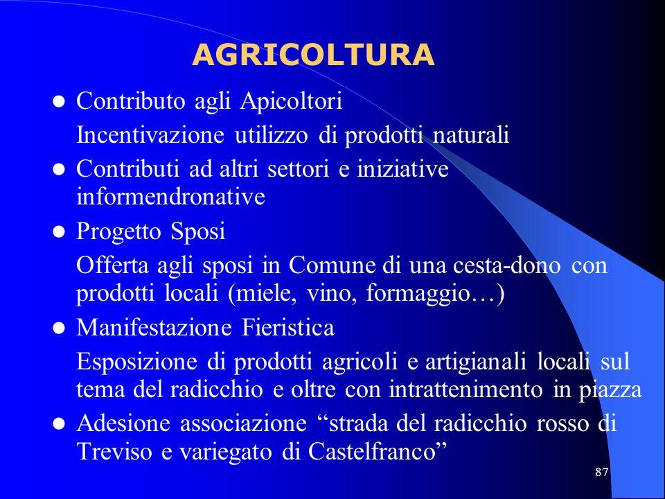 87 Contributo agli Apicoltori Incentivazione utilizzo di prodotti naturali Contributi ad altri settori e iniziative informendronative Progetto Sposi O