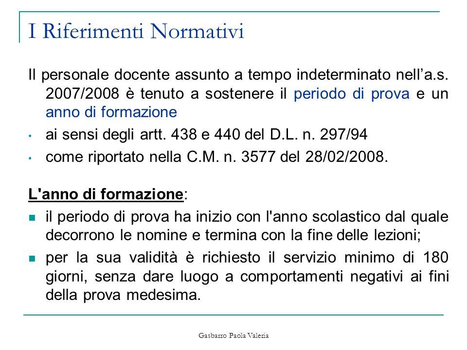 Gasbarro Paola Valeria I Riferimenti Normativi Il personale docente assunto a tempo indeterminato nella.s. 2007/2008 è tenuto a sostenere il periodo d