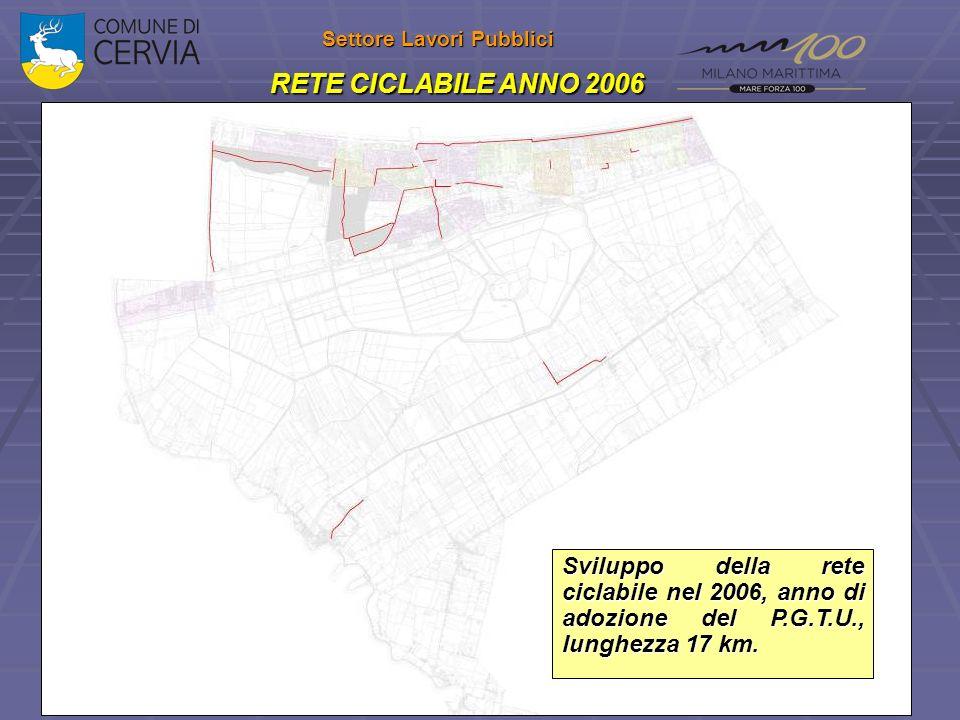 Settore Lavori Pubblici RETE CICLABILE ANNO 2006 Sviluppo della rete ciclabile nel 2006, anno di adozione del P.G.T.U., lunghezza 17 km.